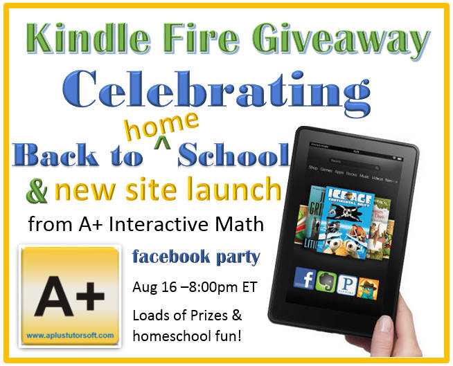 A+ Interactive Math New Site Launch and Giveaway for a Kindle Fire