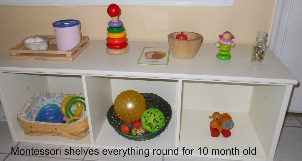 What's on Baby Bells Montessori Shelves at 10 months
