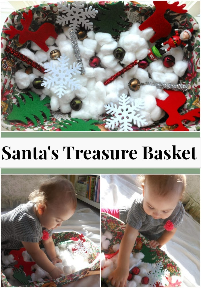 SWEET AND EASY HOMEMADE SANTA TREASURE BASKET FOR TODDLERS, Safe Sensory play with a holiday twist