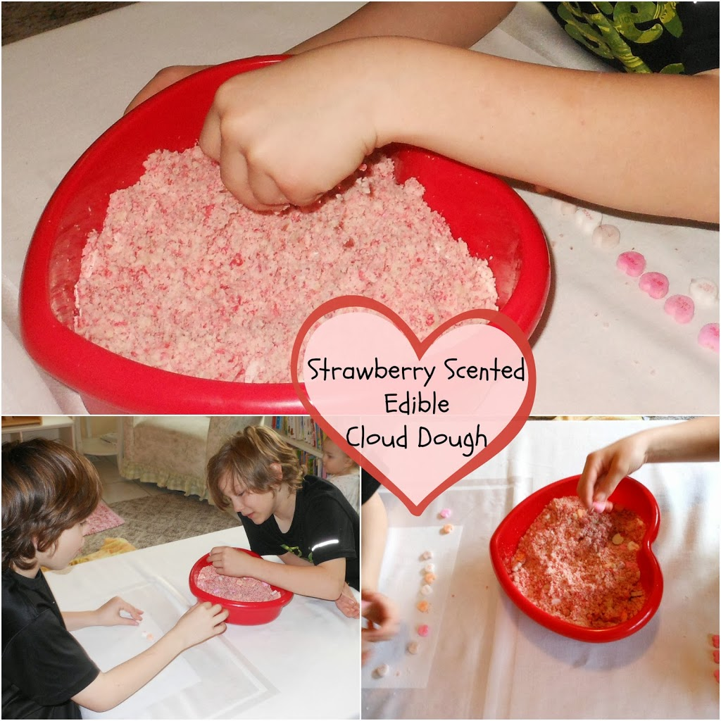 Strawberry scented edible cloud dough, homemade Valentine's Day, Hands on learning, sensory play www.naturalbeachliving.com