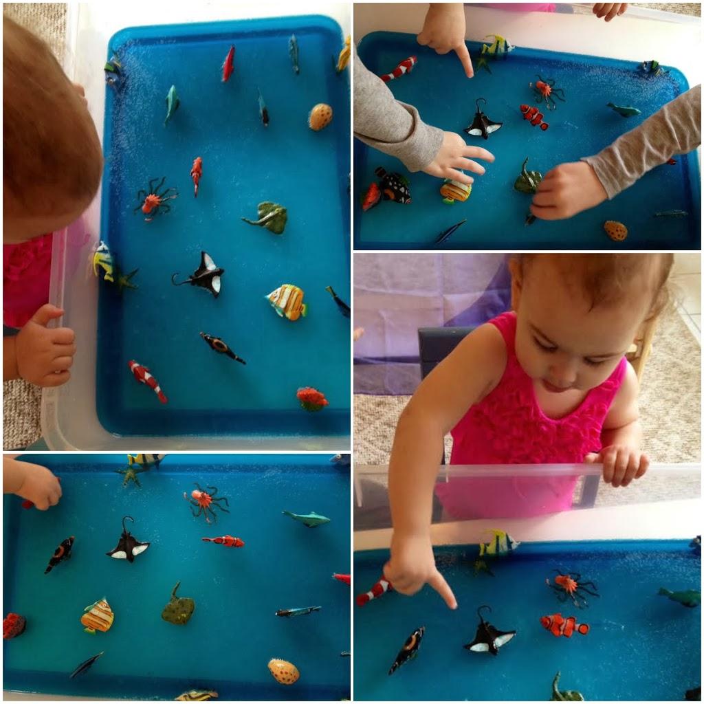 Jello Sensory play, under the sea play, homemade fun, www.naturalbeachliving.com