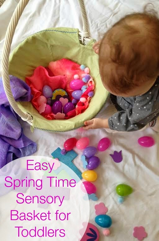 Spring time sensory basket for toddlers, Easy set up, Sensory play, Easter activity, www.naturalbeachliving.com