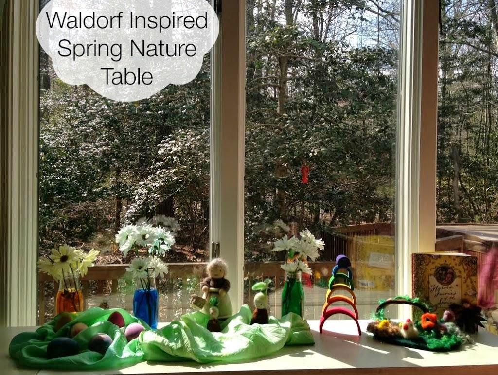 Waldorf inspired Spring Nature Table, Montessori, Science, Rainbow , Handmade, Books, Flowers, www.naturalbeachliving.com