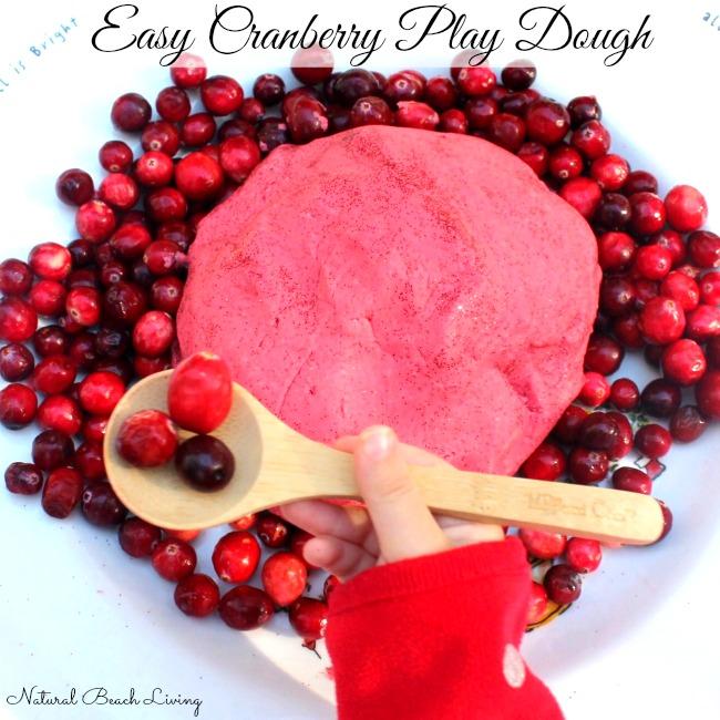 Easy no cook cranberry play dough