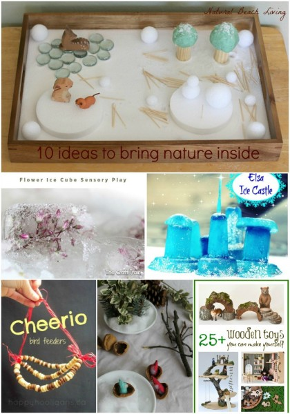 Fun ways to Bring Nature Inside during Winter, Nature Tables, Natural Winter Sensory play, Nature Play Indoors and so much more www.naturalbeachliving.com