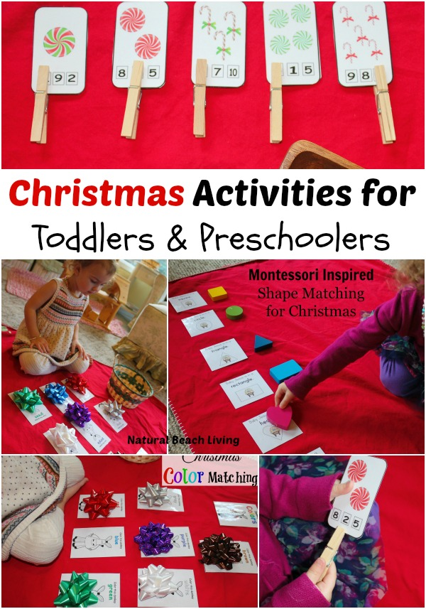 christmas activity Christmas activities for toddlers and preschoolers, color matching, animal matching, fine motor skills, shapes, alphabet, math and more www.naturalbeachliving.com