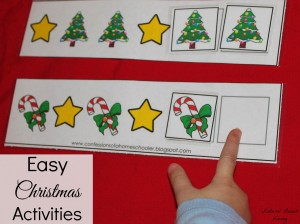 christmas pattern Christmas activities for toddlers and preschoolers, color matching, animal matching, fine motor skills, shapes, alphabet, math and more www.naturalbeachliving.com