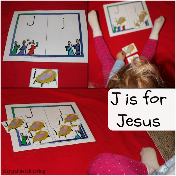j is for jesus Christmas activities for toddlers and preschoolers, color matching, animal matching, fine motor skills, shapes, alphabet, math and more www.naturalbeachliving.com