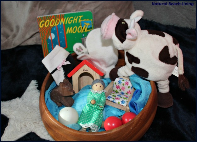 Goodnight Moon Treasure Baskets, Activities for toddlers, classic books, Natural Play, Reading fort, BFIAR, homeschooling, www.naturalbeachliving.com