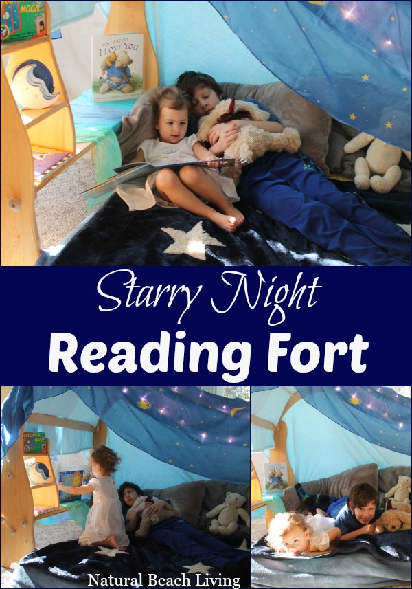 Starry night reading nook, reading fort, BFIAR, Goodnight moon, kids reading space, Waldorf Playstands, reading nook, books, Waldorf, raising readers, #read #kidsspace #books