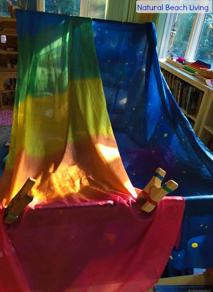 Starry night reading fort, BFIAR, Goodnight moon, Creative play, childhood fun, reading nook, books, Waldorf, kids activities, www.naturalbeachliving.com