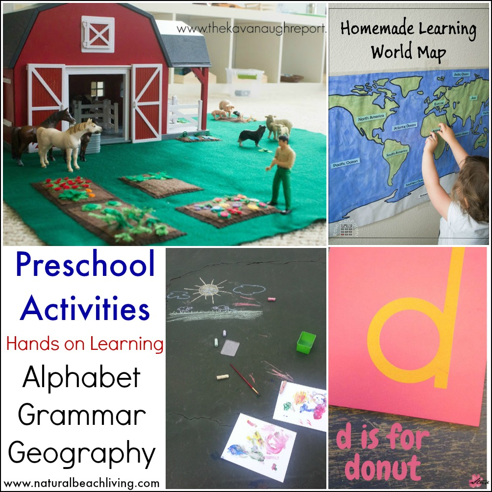 hands on learning preschool activities, homemade and DIY, Alphabet, Grammar, Geography, unschooling & more, toddler and preschool activities