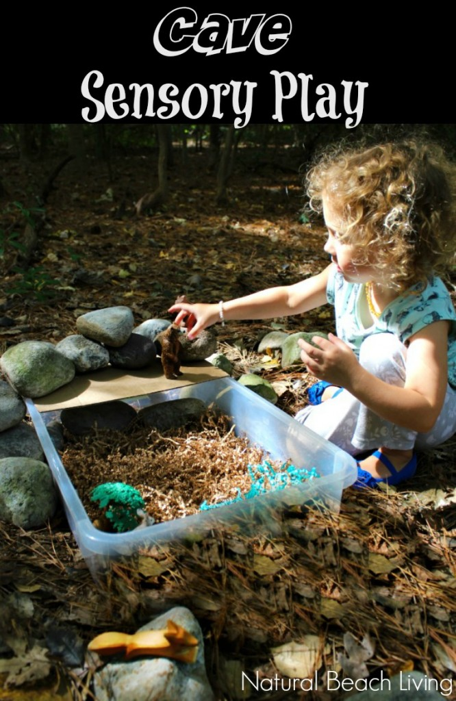 Cool Cave Small World Sensory Play. This is such a great idea for a sensory activity for kids. Animal habitat activities, cave sensory play, Bears