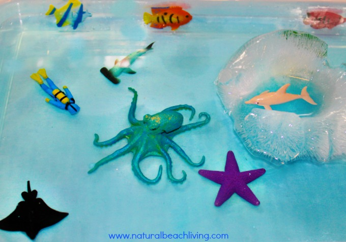 Under the Sea Themed Activities, Amazing Frozen Sensory Play, eye spy sensory game and water play fun. Perfect for a learning theme. AWESOME kids activities