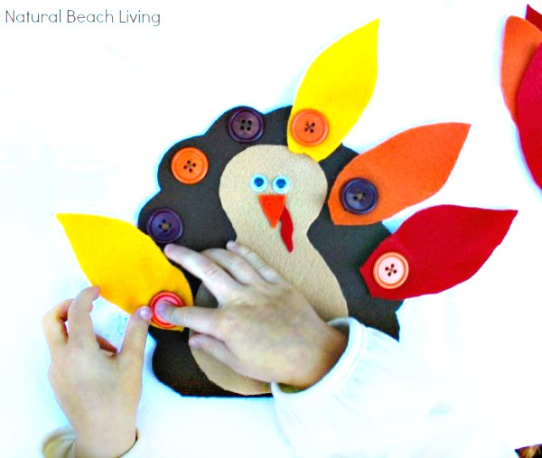 The Cutest Montessori Practical Life Button Turkey, Busy Bag, Easy DIY Thanksgiving Activity, Thanksgiving Preschool Activity, Great Fall Busy Bag Ideas, Fun Turkey Fine Motor Activity