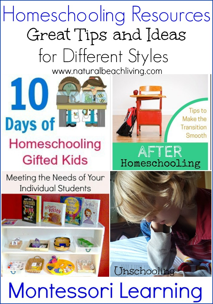 Homeschooling Resources, great tIps for different learning syles, Gifted children, unschooling, Montessori, Special needs, and so much more