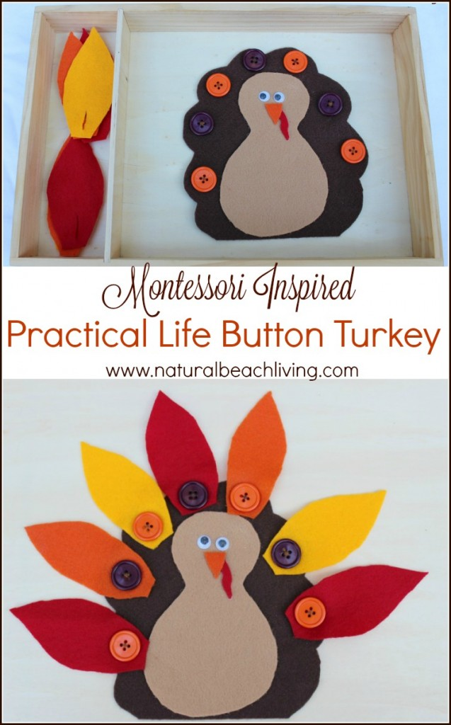 Montessori Practical life button turkey. Everyone Loves busy bags! 20+ ideas for keeping kids entertained and learning on the go. Great Summer Busy Bag Ideas for Kids. Working fine motor skills, colors, shapes, math, and more.