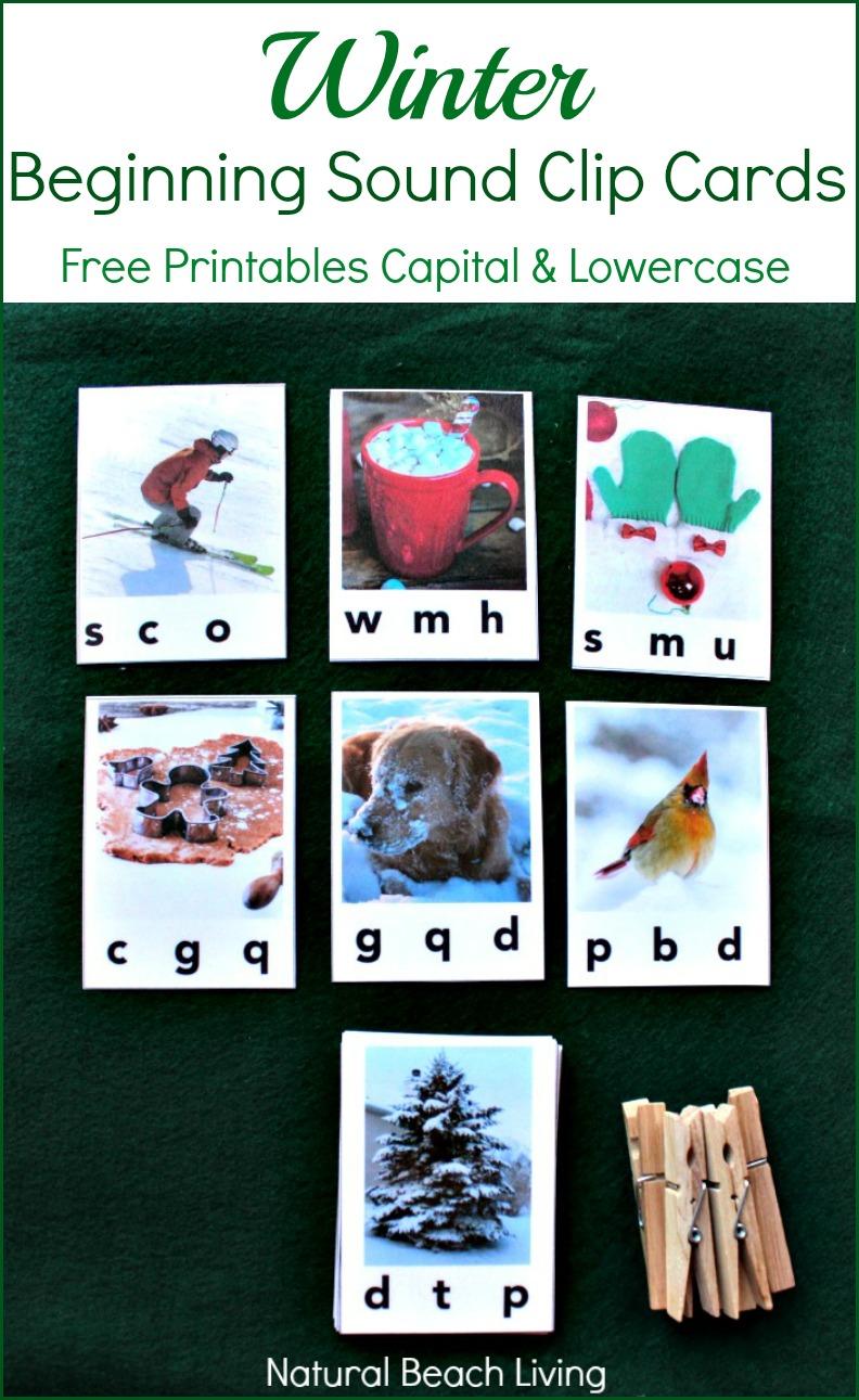 Wonderful Winter Beginning Sound Clip Cards (Free Printables)