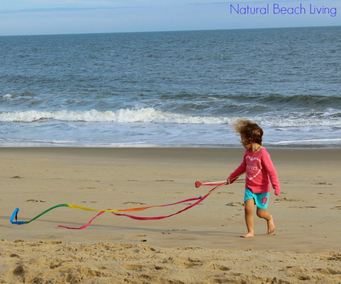 beach streamers for a natural artistic activity and childhood play