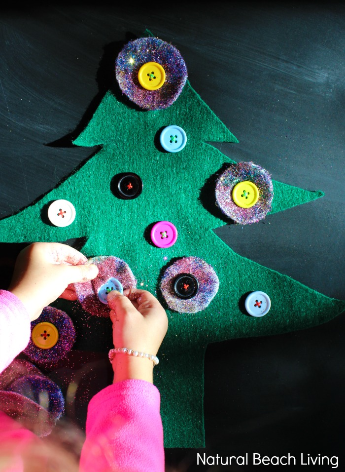 Montessori Inspired DIY Button Christmas Tree, makes perfect holiday practical life skills work and would make a fun holiday busy bag for preschoolers and toddlers.