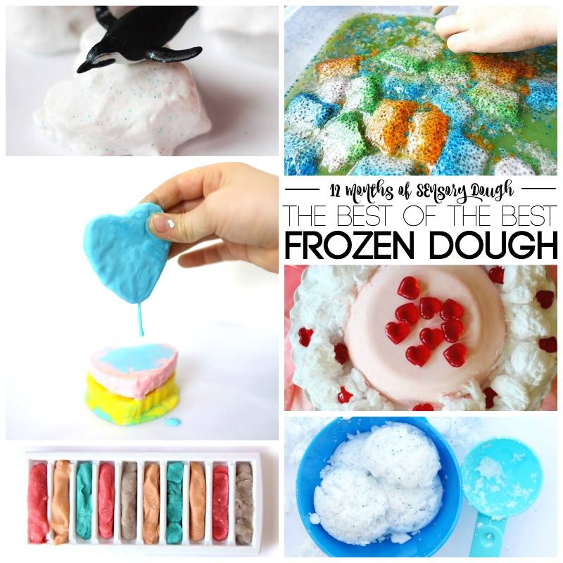 The Best and Easiest 2 Ingredient Frozen Sensory Dough Recipe makes for perfect sensory play for every age.