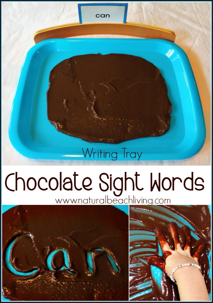 An awesome Multisensory Learning Idea with a Chocolate Writing Tray, Sight words, spelling words, Montessori Inspired, from Toddlers, Preschool, Kindergarten, first grade and early elementary. Great for special needs and kinesthetic, tactile learners.