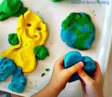 This is The Best No-Cook Play Dough, The Softest and Prettiest homemade play dough ever, The Best Sensory Play mixed with a great kids book about feelings