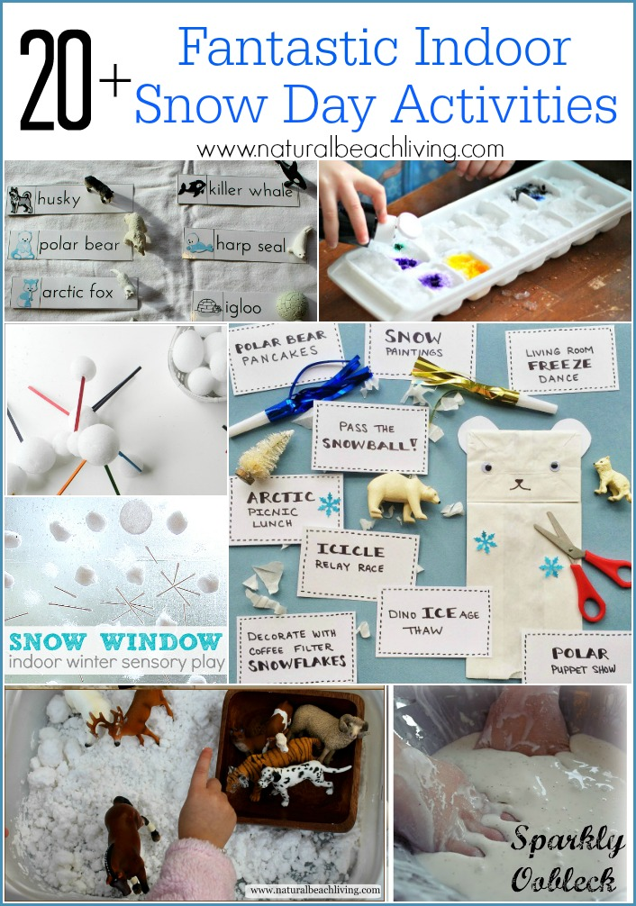 20+ Fantastic Indoor Snow Day Activities, hands on learning, sensory play, STEM, free printables and so much more fun for kids