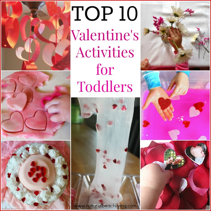 Top 10 Valentine's Activities for toddlers, Sensory Play, Crafts, Slime, Montessori and more.