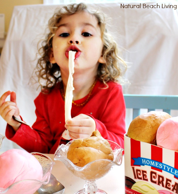 Amazing and Easy to make 2/3 ingredient recipe for 100% Edible Ice Cream Dough, A perfect multi-sensory experience for a fun sensory play