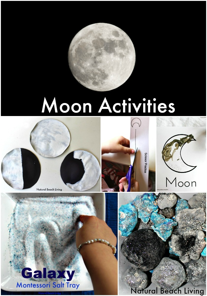 The Best Moon Activities, Montessori Inspired Astronomy Unit Study, Phases of the moon, Crafts, A Galaxy Salt Tray, Letter m activities & Free Printables