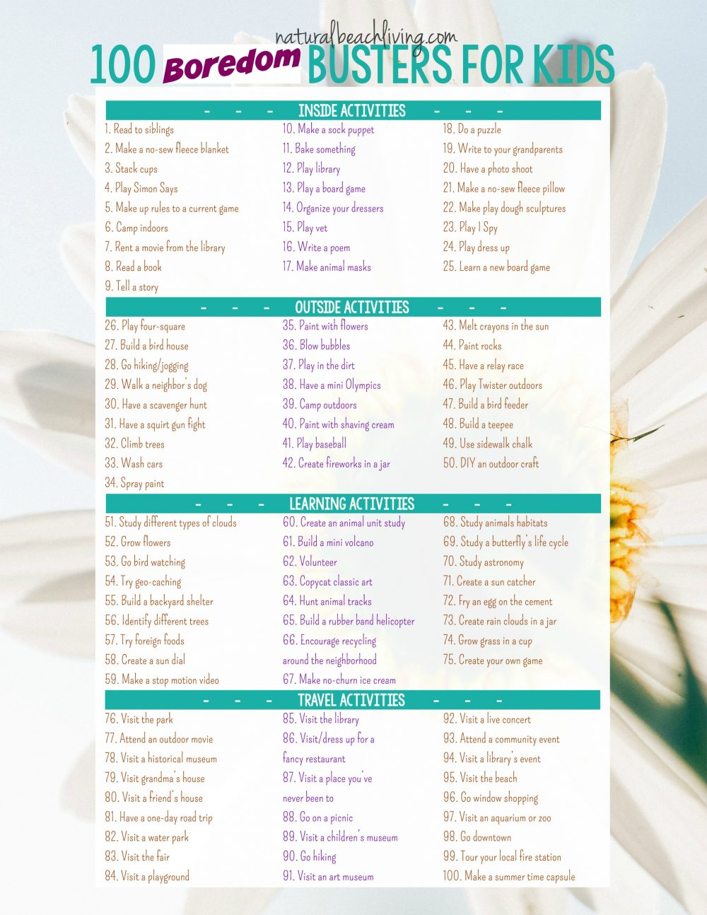 100 Boredom Busters Summer Activities (Free Printable)