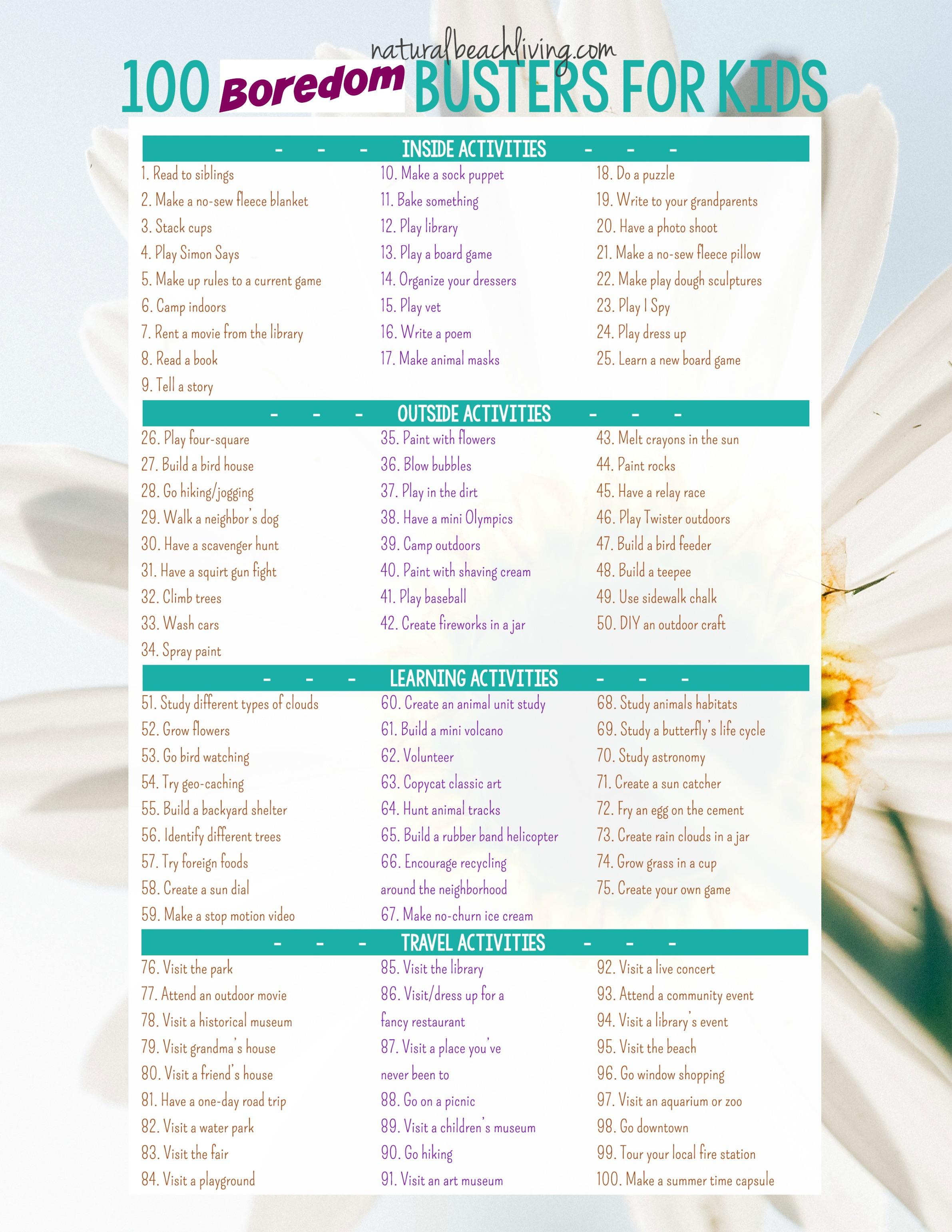 100 boredom busters summer activities free printable natural