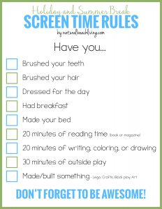 Holiday and Summer Break Screen Time Rules for Kids