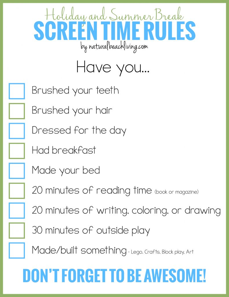 Calendar Organization Rules : Holiday and summer break screen time rules for kids