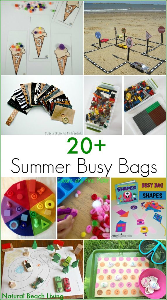 Everyone Loves busy bags! 20+ ideas for keeping kids entertained and learning on the go. Great Summer Busy Bag Ideas for Kids. Working fine motor skills, colors, shapes, math, and more.