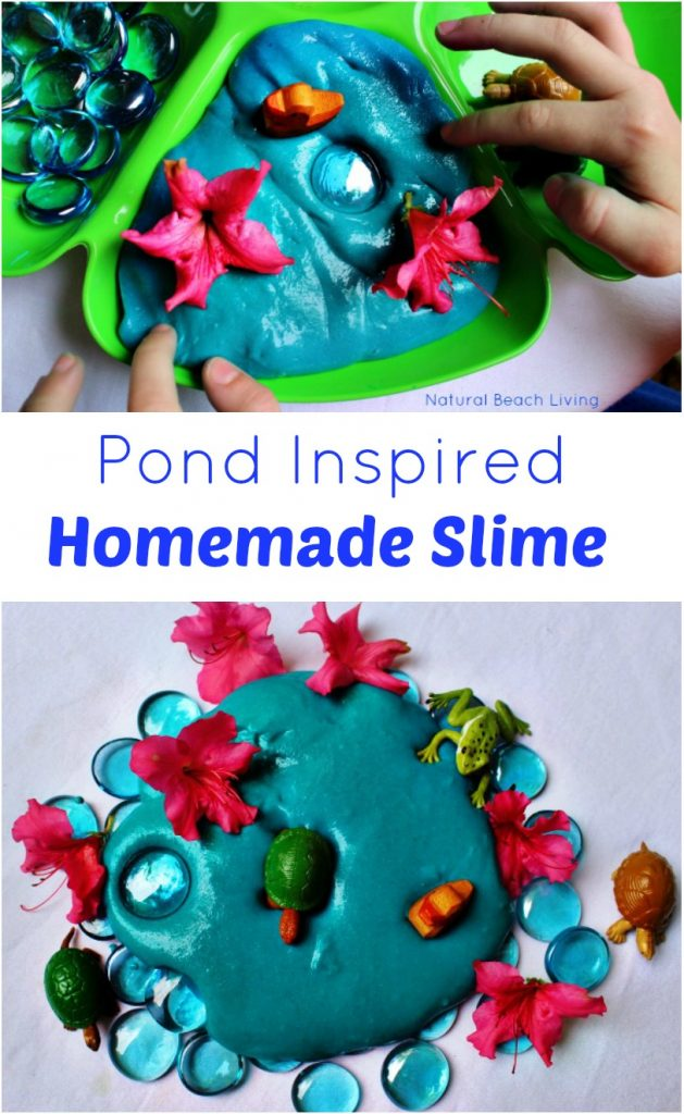Pond Inspired Homemade Slime, Perfect DIY Sensory Play, Great Pond Theme Activity for a Pond Unit Study, Easy to Make and Fun to Play with.