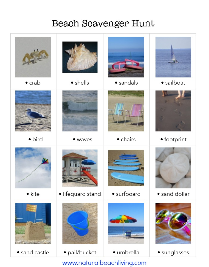 This is the Perfect Beach Scavenger Hunt Free Printable, Great for your next beach day, summer vacation, or family fun idea, DIY a beach treasure Jar Later