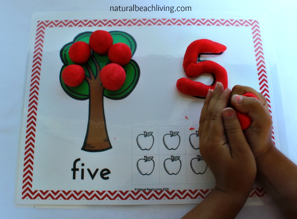 Free Apple Play Dough Mats Perfect for Fall or an Apple Activity, Free, Great for Toddlers, Preschool, & Kindergarten, Math, Counting, Fine Motor Skills
