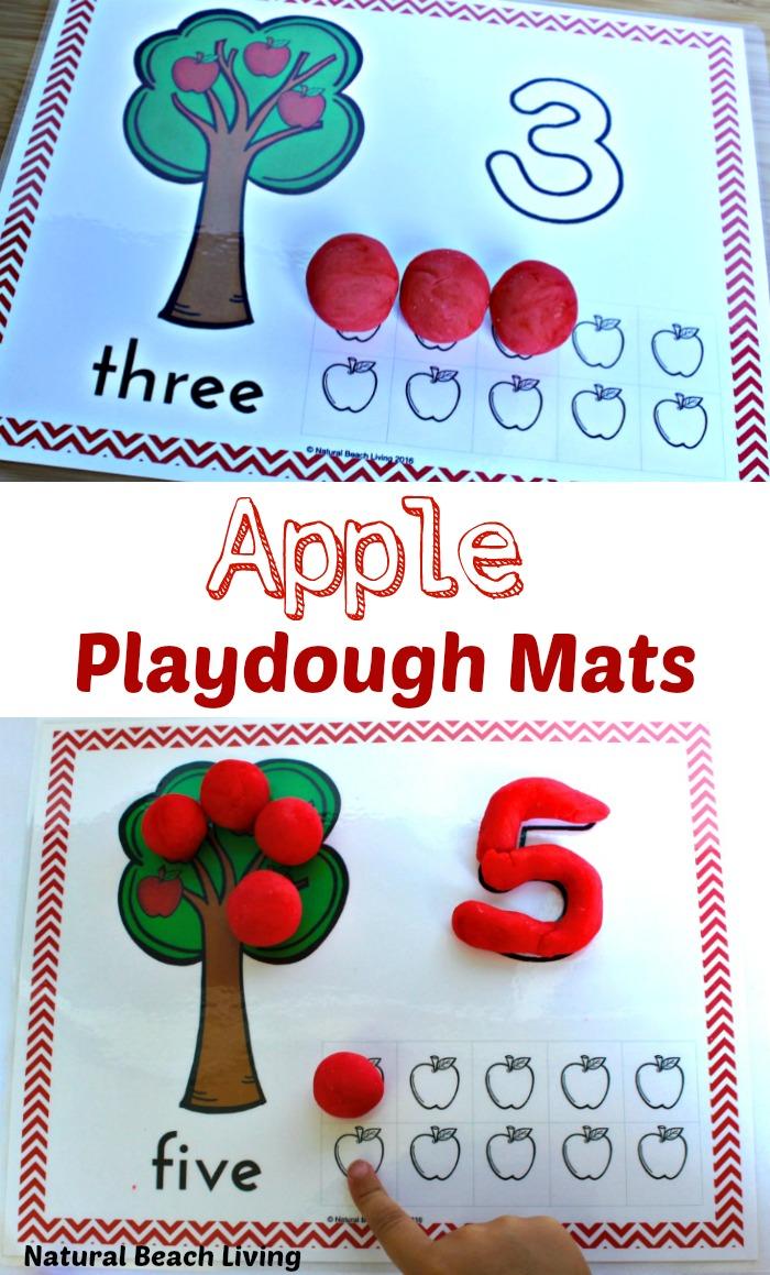 Apple Play Dough Mats Perfect for Preschoolers