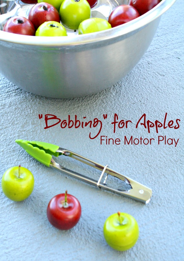 Bobbing-for-Apples-fine-motor-play-fall-activity-for-kids