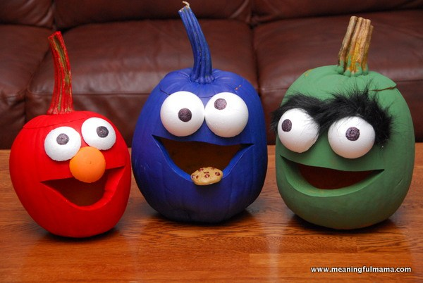 sesame-street-pumpkin, 14 Epic No Carve Pumpkins You'll Want to Show Off, Adorable DIY Pumpkins with No Mess, Fall Decorations, Halloween Ideas and Inspiration,Cute Pumpkin Crafts