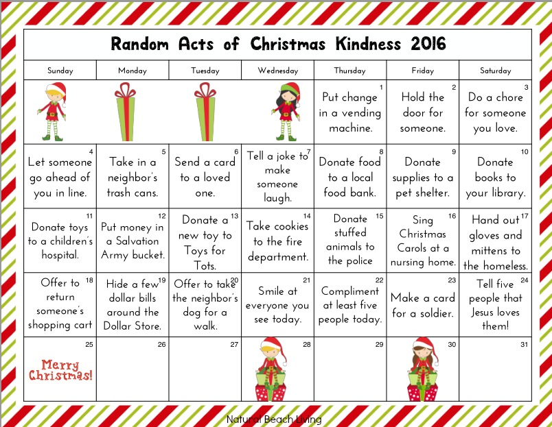 ... Random Acts of Kindness Calendar and Kindness Gift Bag Tags . Will