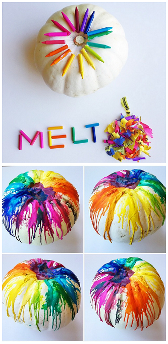 14 Epic No Carve Pumpkins You'll Want to Show Off, Adorable DIY Pumpkins with No Mess, Fall Decorations, Halloween Ideas and Inspiration,Cute Pumpkin Crafts , melted crayon pumpkin