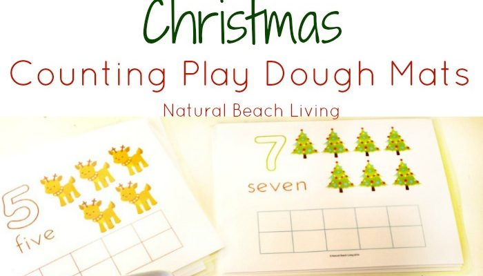Cute Christmas Counting Play Dough Mats