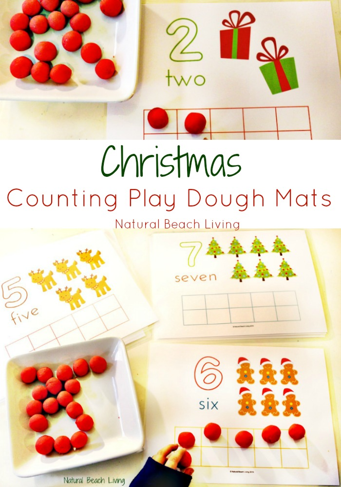 Cute Counting Christmas Play Dough Mats