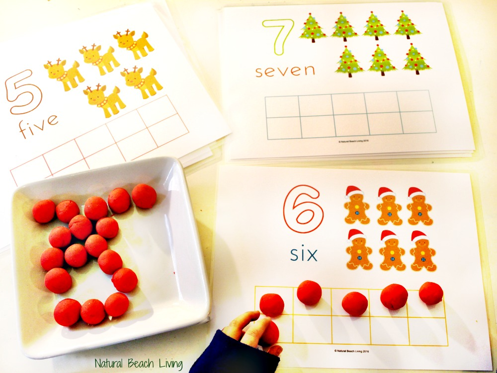 Cute Christmas Counting Play Dough Mats, Perfect Preschool Math, Fine motor skills, Fun Christmas Printables for Kids, Sensory and Hands on Learning Ideas