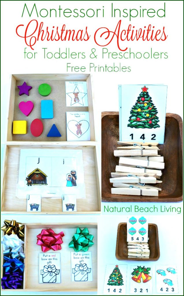 Christmas-montessori-activities for toddlers and preschoolers with FREE Printables