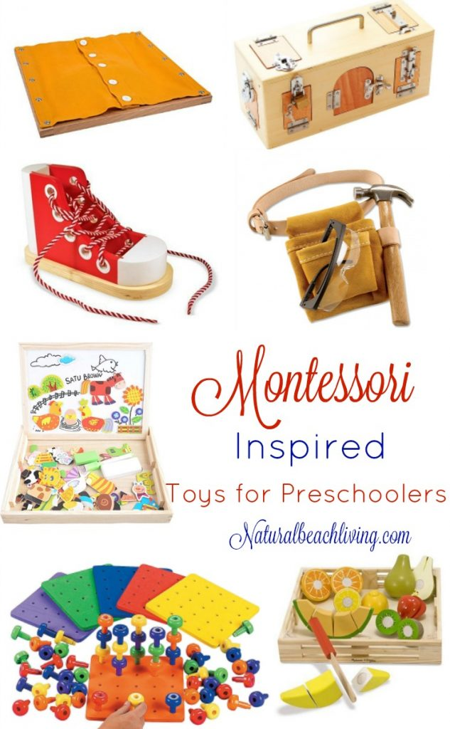 The Best Montessori Toys for 3 year olds, Montessori toys for preschoolers and Montessori education, Great gift guide for the Montessori home.