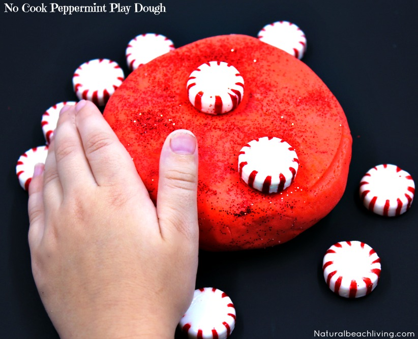 Amazing No Cook Scented Peppermint Play Dough, Holiday Sensory Play, Homemade Gift Idea, Natural Peppermint Sensory Play your kids will love